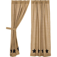 "Burlap with Black Stencil Stars 63"" PANELS Unlined CURTAINS Country"