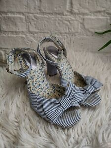 Ladies Joe Browns Ankle Strap High Heels Size UK 6 Blue White Stripe Rockabilly