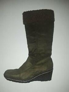 Dark Green Suede & Wool Fall/Winter Wedge Below Knee Boots by Fab SIZE: 8 (VG)