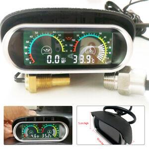 Car Truck LCD Digital  Water Temperature Oil Pressure Gauge Panel Universal Kit
