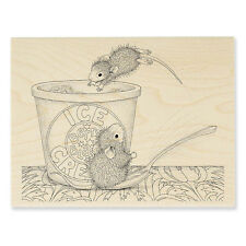 HOUSE MOUSE RUBBER STAMPS DESSERT DIVE NEW wood STAMP
