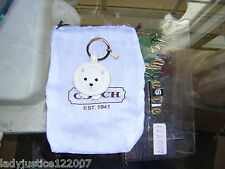 *COACH* White Polar Bear Patent Leather w/Mink tail Key fob 93015 NEW!