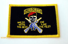 AIRBORNE MESS WITH THE BEST US ARMY HAT PATCH MILITARY SKULL RED CAP
