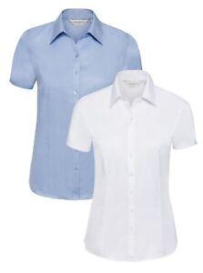 Russell Femmes Bleu Ou Blanc Manches Courtes à Chevrons Chemisier