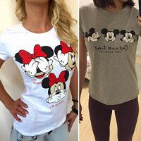 Women Mickey Minnie Mouse Cartoon Tee Short Sleeve T-Shirts Casual Shirt Tops