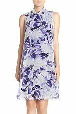 3212 Eliza J Purple Floral Sleeveless Chiffon Trapeze Swing Dress 14 New