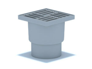 Bodenablauf Edelstahl Durchgang DN110 150x150mm Abgang Senkrecht Duschablauf
