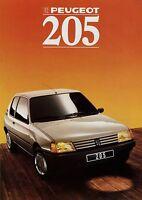Peugeot 205 Prospekt 1988 Autoprospekt brochure prospectus broschyr brosjyre