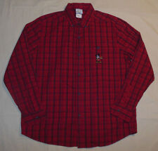 Vtg 90's Disney Store Mickey Mouse Casual Red Plaid Shirt Button Front Mens M