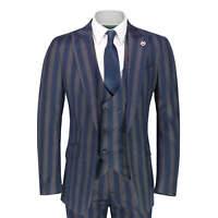 Mens Vintage Navy Brown Bold Stripe 3 Piece Suit Classic Smart Tailored Fit