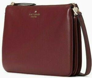 Kate Spade Jackson Triple Gusset Purple Leather Crossbody WKRU5942 NWT $279 FS