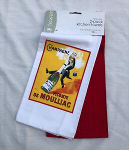 Target Home CHAMPAGNE VICOMTE DE MOULLIAC Art Nouveau Kitchen Dish Towels 2 Pack