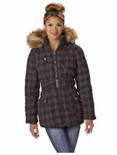 Rocawear Gray Houndstooth Belted Coat Faux Fur Trim Hood Women's 2X