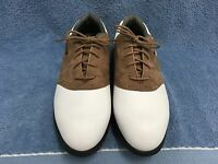Nike Zoom Air Oxford Golf Shoes White/Brown Leather Men's Size 9M