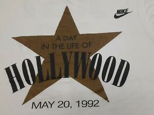VTG 90s NIKE Gray Tag A Day in the Life of Hollywood JUST DO IT T Shirt Large L