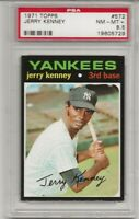 SET BREAK -1971 TOPPS # 572 JERRY KENNEY,  PSA 8.5 NM-MT+, N.Y. YANKEES,  L@@K !