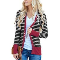 Women Kintted Striped Long Sleeve Button Up Cardigan Sweater Outwear Casual Coat