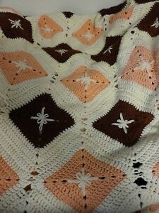 """Vintage Granny Square Blanket Handmade White/Pink/Brown knit/crocheted 42"""" x 90"""""""
