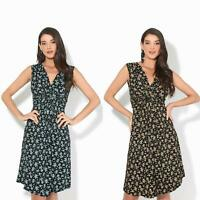 Women Ladies Floral Midi Dress Pattern Sleeveless V Neck Stretch Casual Sundress