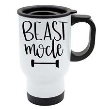 Taza de viaje - Beast Mode - Blanco Acero Inoxidable - Gimnasio, entrenamiento,