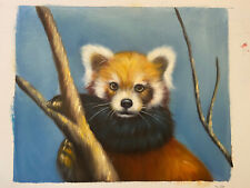 8.5x10.5 Red Panda Hand-Painted Oil on Canvas