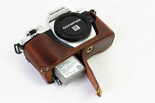 Coffee Leather Bottom half Case bag For Olympus E-M10 II, EM10II, E-M10 Mark II