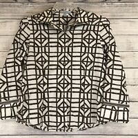 Foxcroft Womens Size 10 M Top Cotton Brown cream geo pattern wrinkle free top