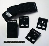 100 BLACK acrylic earring display cards pierced clip on jewelry display JD038B