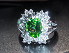 Solid SS 925 Gorgeous Peridot and (Diamond Cut) White Sapphire Ring - Size 6.75