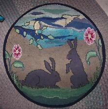 "Antique Handmade Rabbits  Birds Flowers Wool Hooked Rug 31"" Diameter"