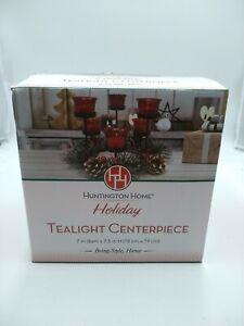 Huntington Home Red Glass Tea Light Holder Christmas Centerpiece Black Iron Base