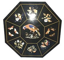 """36"""" Black Marble Table Top Floral Pietra Dura Marquetry Handmade Birds Gifts"""