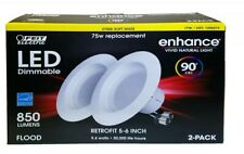 2pk Feit led 2700k soft white 75w replacemen 9.4w 90+cri 850 lumen retrofit 5-6""