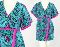 Womens 10 Nanette Lepore Sheath Dress Flutter Sleeve Neon Floral Print Silk