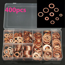 9 Sizes 400Pcs Copper washers Set O-Ring Gasket Kit for Sump Plugs Water engines