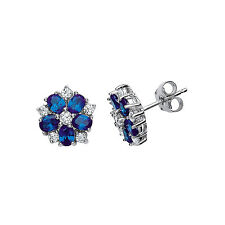 Sapphire Earrings Silver Stud Sterling Silver Platinum Plated Studs
