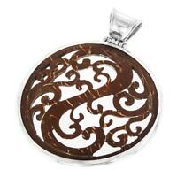 """2 3/8"""" HANDCARVED COCONUT SHELL SCROLLWORK IN 925 STERLING SILVER pendant"""