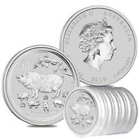 Roll of 5 - 2019 2 oz Silver Lunar Year of The Pig BU Australian Perth Mint In