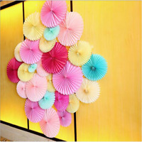 "25cm 10"" Tissue Paper Fan Pinwheels Charm Flower Home Wedding Party Decor"