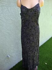 Marks&Spencer Fitted Comfortable Long Dress M Black Multi Spaghetti Strap
