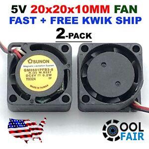 Sunon 5V DC 20mm Cooling Fan 20x20x10mm 2010 GM0501PFB3-8 0.2W 3-Pin Mini 2-Pack