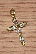 "12K Gold 1"" Inch Tri-Colored Gold Cross Leaf Design Necklace Pendant / Charm!"