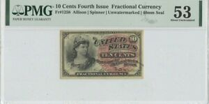 Fourth Issue 10 Cents FR#1258 PMG 53 About Unc Unwatermarked