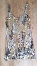 Womens Vintage Mango Size small 8 10 Gold Sequin Vest style Party Dress festival