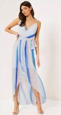Bnwt🌹Lipsy🌹Size 14 Multi Ombre Cami Pleated Chiffon Maxi High Low Dress New