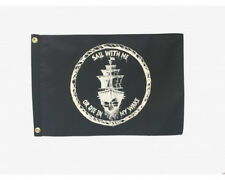 """Sail With Me or Die in My Wake 12x18"""" Pirate Boat Flag Burgee"""