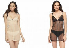 Womens Misses Lingerie sheer Teddy Baby Doll Black Tan XS Small med large XL NEW