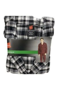 Hanes Flannel Pajama Mens, Size Small, 2 Piece Cotton Black/Grey/White/plaid New
