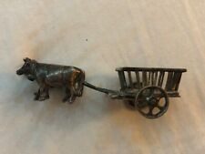 Vintage Dutch or Chinese Sterling Silver miniature Ox drawn cart pair of oxen