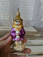 Inge Glas Ghost Of Christmas Past Angel Blown Glass Old World Xmas Ornament RARE